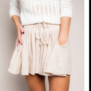 Free People Beige & White Meet Your Match Dotted High Waist Lace Up Skorts L